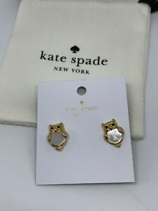Authentic Kate Spade Into The Woods Cream/Gold Owl Stud Earrings With Dust Bag