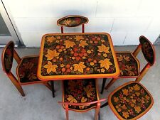 Vintage Table and Chairs Russian khokhloma Children Furniture 6 Piece  lot