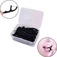 50X Bamboo charcoal Sticks Tooth Clean Picks Dental Floss Flosser Toothpicks RU