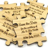 Wedding Save The Date Magnets - Unique Personalised Wooden Jigsaw Puzzle Pieces