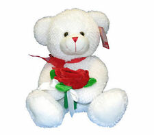 "13"" Bear Plush White 3 Red Roses Valentine's Mother's Birthday Anniversary New"