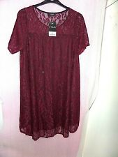 HEART YOURS CLOTHING UK 14 PURPLE/RED LACE SHORT SLEEVE SUMMER DRESS BNWT