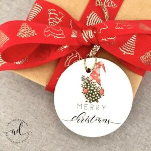 12 Christmas Gift Tags Xmas Presents Gifts White Custom Tag Merry Gnome