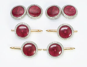 Platinum Guilloche Red Enamel Diamond Cufflinks Stud Set