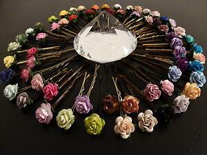 6 ROSE HAIR GRIPS ACCESSORIES WEDDING BRIDESMAID VINTAGE BOHO FLOWER GIRL