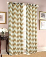 """Chevron Print 100% Thermal Insulated Blackout Window Curtain Panel 84"""" Long"""