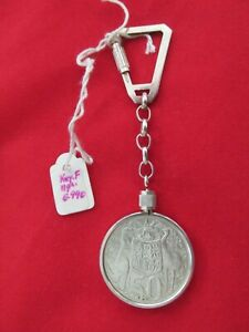 Vintage 800 Silver Frame Keyring for 1966 Australian Fifty Cent Coin with Coin !