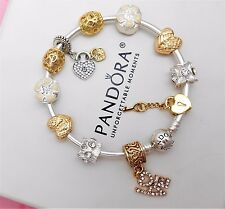 Authentic Pandora Silver Bangle Charm Bracelet With Gold Love European Charms.