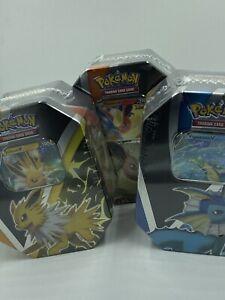 Pokemon TCG - Eevee Vaporeon Jolteon Flareon Evolutions Tin - 3 Pack