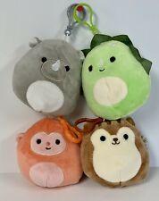 Squishmallow Clip-Ons 3.5 Inch Squirrel, Dino, Monkey, Rhino Plush Toys