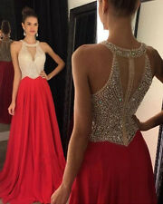 2016 Red Chiffon Evening Dresses Prom Gowns Party Dress Custom Made