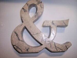 "Decor Letter ""&"" Ampersand, 5""T x 5""W Faux Stone Finish, 5"" x 4-1/2"""