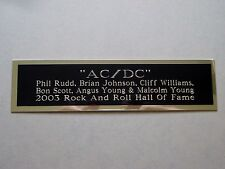 """Ac/Dc Nameplate For An Autographed Concert Ticket Cd Or Photograph 1.25"""" X 4"""""""