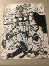 MIGHTY THOR HAND-SKETCH INK & SIGNED BY Paris Cullins W/COA (8x10 FREE SHIPPING