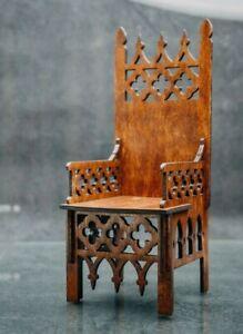 "Gothic Throne for BJD Dolls 21"" 1/3 scale furniture handmade diorama OOAK v51"