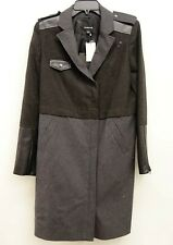 New Trouvé Clothing Womens Sz M Gray Tweed Modern Punk Trench Coat Jacket Moto