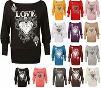 Women Batwing Love Heart Print Glitter Long Sleeve Womens Long Top 12-30