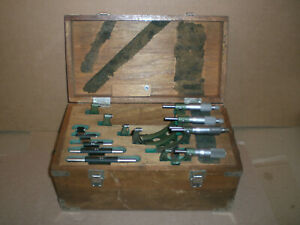 """6 pc Mitutoyo 0-6"""" .0001 Outside Micrometer with standards and wood box"""