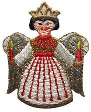 #3187 Christmas Angel Girl w/Candle Embroidery Iron On Applique Patch
