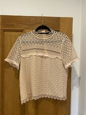 Womens Zara Blush Nude Guipure Lace Short Sleeve Blouse Top Size XL