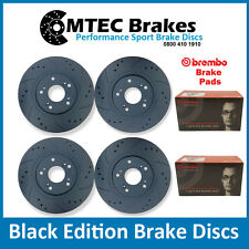 Mazda RX8 Front Rear Drilled Grooved Black Edition Brake Discs & Brembo Pads