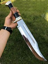 "18"" CUSTOM HANDMADE D-2 TOOL STEEL HUNTING BOWIE KNIFE WITH LATHER SHEATH"