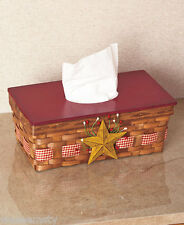 Country Star Rustic Wooven Wood Primitive Bath Tissue Box Holder Cover Decor