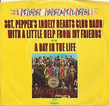 """THE BEATLES- 7"""" SGT. Pepper LHCB/A day in the life, Single W/ Sleeve Purple 1978"""