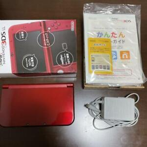 New Nintendo 3DS XL LL Console Metalic Red Used with Box & Chager F/S