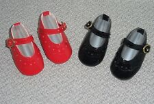 2 pair DOLL SHOES fit MAGIC ATTIC CLUB Dolls, Red & Black, Patent Maryjanes