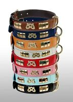GENUINE LEATHER STAFFY DESIGNER DOG COLLAR WITH KNOT,BRASS FITTING IN 8 COLOURS