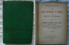MANUALE HOEPLI ACQUE MINERALI E TERMALI - ANNO 1894 - 1° Edizione - Luigi Tioli