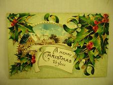 VINTAGE EMBOSSED CHRISTMAS POSTCARD WITH FARM SCENE NICE COLOR! 1910