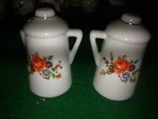 Rare Vintage Salt and Pepper Shakers porcelain / ceramic  teapot with flowers