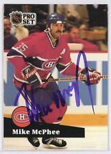MIKE  McPHEE Montreal Canadiens 1992 PRO SET  AUTOGRAPHED HOCKEY CARD JSA