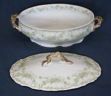 Bawo & Dotter ELITE WORKS [BWD2] White w/ Green Floral OVAL COVERED VEG BOWL