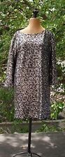 Tahari Black /Silver Sequin Fully Lined Stretch Cocktail Shif Dress Size M
