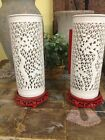 Chinese Lights 1930's Porcelain Glass Chinese Bamboo Silhouette Lanterns