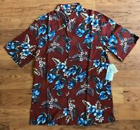 NWT Batik Bay Men's Size S Hawaiian Shirt Rayon Button Down Red Soft Touch
