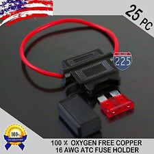 25 Pack 16 Gauge ATC In-Line Blade Fuse Holder 100% OFC Copper Wire + 1A - 40A