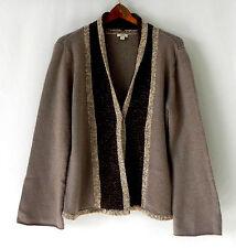 J.Jill Cardigan/Duster Tan/Brown Wool Blend Open Style Size L