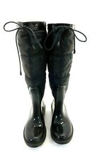 BAMBOO WOMEN'S 'STORM' BLACK QUILTED FABRIC RUBBER RAIN BOOTS SIZE 5.5M US