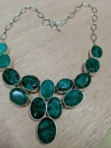 Green Stone Statement Necklace, 925 Sterling