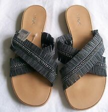 9dff3329b30e Next Fringed Sliders Charcoal grey beaded sandals Size 6.5 Euro 40 New Tags  BNWT