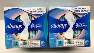 Lot 2 Always Infinity FlexFoam Pads , Size 3, Extra Heavy Absorbency 14 Ct Ea