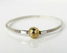 Authentic PANDORA Silver Mesh Bangle Bracelet With 14k Gold Plated Clasp 596543 17cm