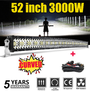 52'' 3000W courbe Barre LED Rampe Light bar phare de travail SUV ATV 4x4 Offroad