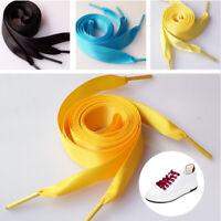 """39"""" 49"""" 2CM Wide Unisex Ribbon Shoelaces Satin Shoe Flat Lace Dance Sport Shoes"""