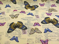 Cream Butterfly/Butterflies Printed 100% Cotton Canvas Fabric.