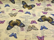 Crema Mariposa/Mariposas Impreso 100% algodón canvas fabric.